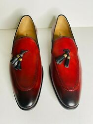 Italian Men Leather Shoe Red Color Size 44