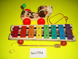2 Vintage Fisher Price 1965 Little Snoopy Pull Dog 1964 Xylophone Pull A Tune