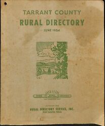 Tarrant County Rural Directory June 1954 Texas Local Ads Advertising