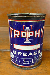 Vintage Trophy One Pound 1lb Metal Grease Oil Can H.k. Stahl Co St Paul Mn