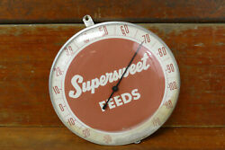 """Vintage Original Supersweet Feeds 12"""" Round Glass Thermometer Farm Seed Sign"""