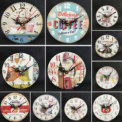 12cm Vintage Wooden Wall Clock Shabby Chic Rustic Home Antique Timer Kitchen