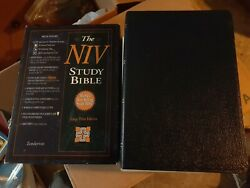 Niv Large Print Study Bible Navy Bonded Leather In Box 1995