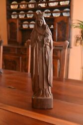 Antique Virgin Mary Madonna And Child Santo Hand Carved Wood Statue - Venezuela
