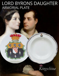 Ada Lovelace Lord Byron Porcelain Cabinet Plate Armorial Signed Hand Painted
