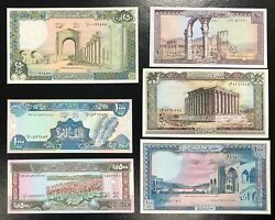 Lebanon-lot Of 6 Different Notes-lot 3 All Unc .