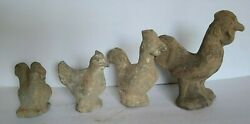 Chinese Antique Lot Of 4 Han Dynasty Pottery Three Chickens And A Rooster