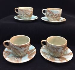 Set Of 4 Antique Agateware Cups And Saucer Sets Blueish Green Tint On Brown
