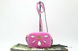 Rank Chain Shoulder Bag 448065 Gg Marmont Quilted Mini Pink