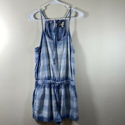 Cloth And Stone Plaid Tencel Romper Shorts Straps With Pockets Womenandrsquos Size Xs