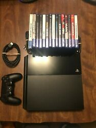 Sony Playstation 4 1tb Jet Black System With 15 Games In Original Box - Nice -