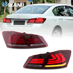 Red Led Tail Lights For 2013-2015 Honda Accord W/drl Sequential Turn Signal