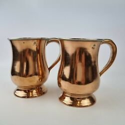 Antique Pair Of Early 20th Century Copper Pint Measure Tankards 12.5cm High