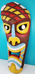 Original Vintage Pacific 4 Foot Carved Wood Painted Multi Color Tiki Face Statue