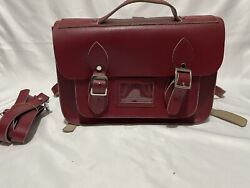 Leather Satchel Backpack In Red Genuine British Style Crossbody Pocketed Bag $120.00