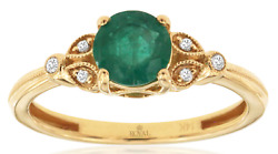 .81ct Diamond And Emerald 14kt Yellow Gold Round Filigree Flower Multi Leaf Ring