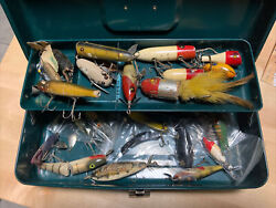 25+ Glass Eye And Vintage Wooden Fishing Lures Heddon And More + Tackle Box Lot