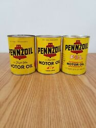 Vintage Pennzoil Motor Oil Cans Quart Gas Station Advertising Auto Lot Of 3