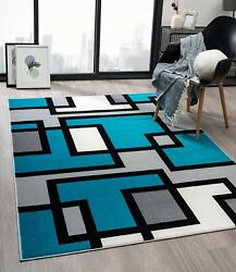 Context Breeze Collection Trendy Contemporary Modern Blue Rug
