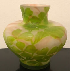 """French Cameo Antique Art Cabinet Glass Vase Galle Daum Unsigned Mint 4"""""""