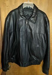 London Fog Towne Collection Black Leather Jacket Mens [sz L] W/leather Gloves