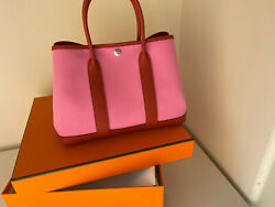 Hermes Garden Party 30 Cm Rose/red New Tags