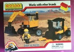 Best-lock Construction Toy Excavator And Forklift 160 Pc Set 2 Mini Figs