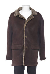 Boss By Hugo Boss Brown Leather Shearling Jacket 50 Xxl Big And Tall Coat Men's