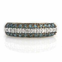 0.71ct Blue And White Real Diamond 14k White Gold Over Ring Free And Fast Shipping