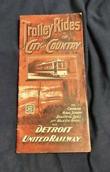 Original 1903 Detroit United Railway Trolley In Country And City Map 40 X 8 1/4