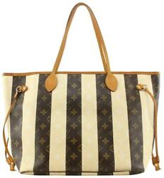 Louis Vuitton Rare Limited Rayures Monogram Neverfull Mm Tote Bag 384lvs527
