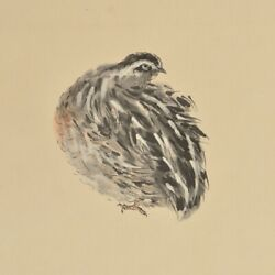 Japanese Painting Hanging Scroll Japan Quail Picture Vintage Ink Aged Art 079q