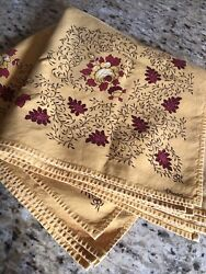 """Les Olivades Vtg 7 Cotton Table Linens Napkins Red And Gold Floral Print 18""""sq"""