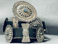 Rare Lone Mountain Turquoise Vintage Navajo Sterling Silver Concho Belt