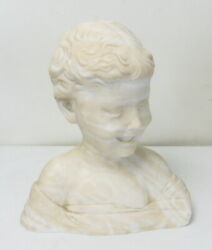 Antique Italian Marble Bust Of The Laughing Boy Child Desiderio Free Ship