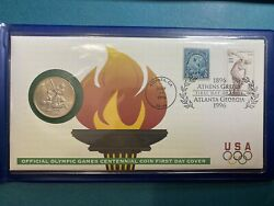1995 Us Olympic Team Baseball Commemorative Half Dollar First Day Cover Rare