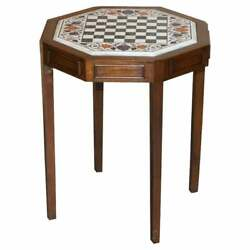 Lovely Antique Circa 1900 Hardstone And Marble Inlaid Chess Table Stunning Colours