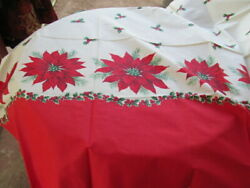 CHRISTMAS POINSETTIA HOLLY BERRY COTTON BORDER FABRIC 56quot;L X 36quot;W