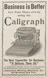 1895 Ad1800-1aamerican Writing Machine Co. Ny. Caligraph Business Typewriter