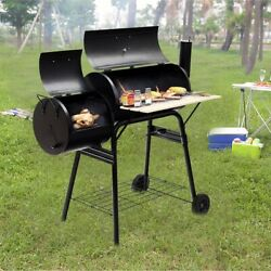 Outdoor Bbq Grill Barbecue Solid Steel Pit Patio Cooker Less Smoke With Wheels