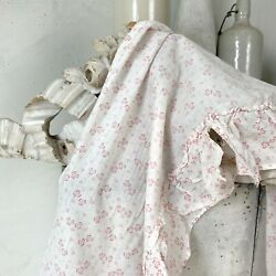 Antique French Small Scale Pattern Doll's Clothes Fabric Material Ruffle Shabby