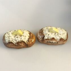 Vintage Idaho Baked Potato With Butter Vegetable Salt And Pepper Shakers Japan