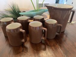Vintage Buckeye Beer Stein Root Beer Pottery Pitcher And 6 Mugs Set Red Ware Brown