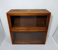 Antique Set Globe Wernicke Mission Stacking Cabinet Barrister Lawyer Bookcase