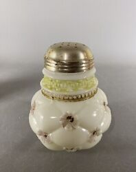 Antique Northwood Decorated Milk Glass Quilted Phlox Sugar Shaker