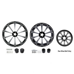 21 Front 18'' Rear Wheel Rims And Hub Belt Pulley Fit For Harley Road King 08-21
