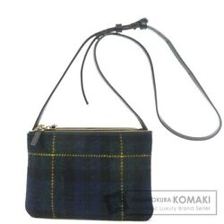 Celine Trio Plaid Shoulder Bag Wool/leather Women And039s Secondhand