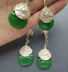 Chinese Antique Jewelry Collection Women Tibetan Silver Jade Earrings Retro