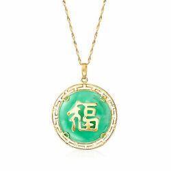 Jade Lucky Chinese Symbol Pendant Necklace In 14kt Yellow Gold