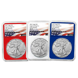 2021 1 Type 2 American Silver Eagle 3pc Set Ngc Ms70 Er Flag Label Red White Bl